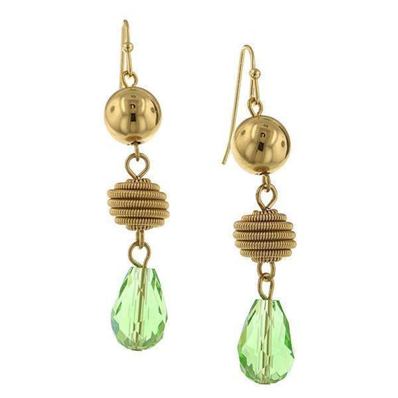 Gold-Tone Green Beaded Drop Earrings