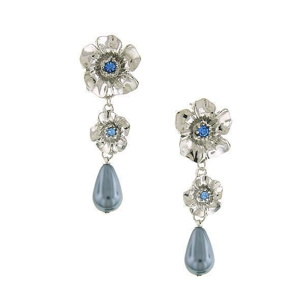 Silver Tone Costume Grey Costume Pearl W/ Lt. Sapphire Flower Linear Earrings