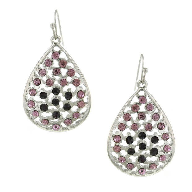 Silver-Tone Amethyst Purple Filigree Teardrop Earrings