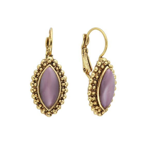 14K Gold Dipped Diamond Shape Amethyst Earrings