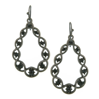 Hematite Tone Black Diamond Color Crystal Open Teardrop Earrings