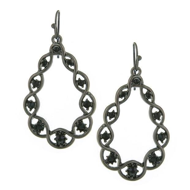 Hematite-Tone Black Diamond Color Crystal Open Teardrop Earrings