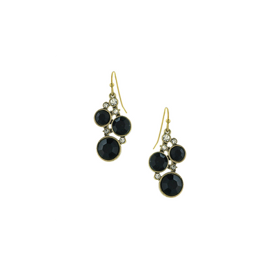 Gold Tone Black Stone und Crystal Cluster Drop Ohrringe