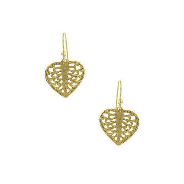 Gold-Tone Mini Heart Filigree Drop Earrings