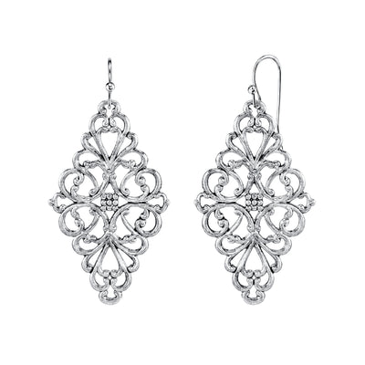 Filigree Diamond Drop Earrings