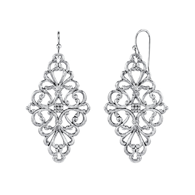 Silver Tone Filigree Diamond Drop Earrings