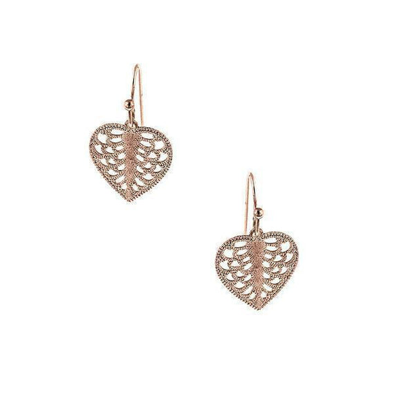 Rose Gold-Tone Mini Heart Filigree Drop Earrings