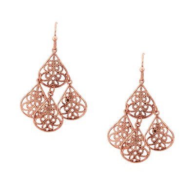 Rose Gold Tone Filigree Drop Wire Earrings
