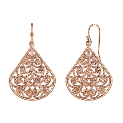 Filigree Vine Teardrop Earrings Rose Gold Tone