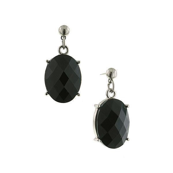 Silver-Tone Black Oval Faceted Drop Earrings