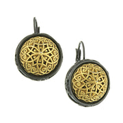 Black Tone And Gold Tone Round Earrings