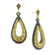 Black Tone And Gold Tone Teardrop Earrings