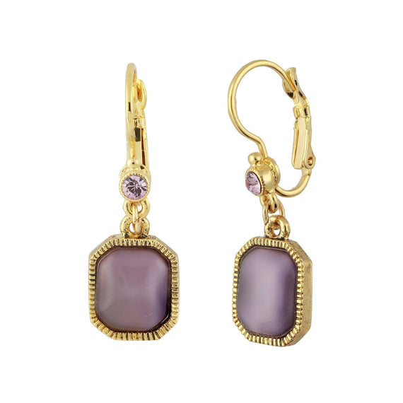 Gold Tone Square Amethyst Color Drop Earrings
