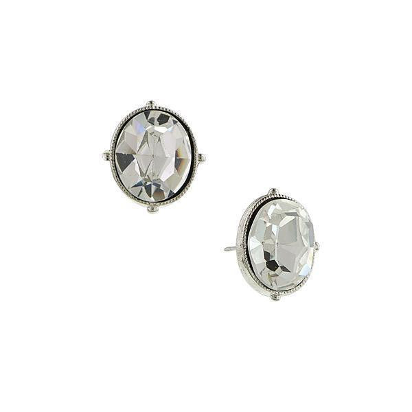 Silver-Tone Oval Stud Earrings Made With Swarovski Crystals