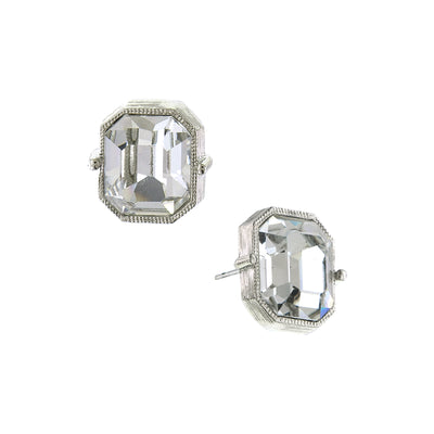 Silver-Tone Emerald Cut Stud Earrings
