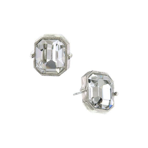 Silver Tone Emerald Cut Stud Earrings