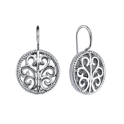 Round Drop Filigree Earrings