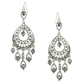 Silver-Tone Hematite Color Filigree Statement Teardrop Earrings