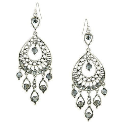 Silver Tone Hematite Color Filigree Statement Teardrop Earrings