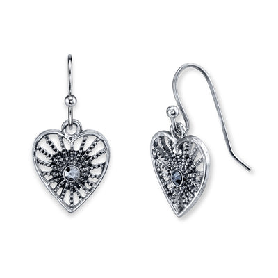 Silver-Tone Hematite Color Heart Filigree Drop Earrings