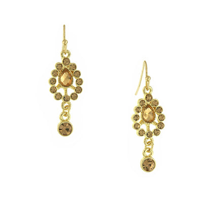 Gold Tone Lt. Brown Drop Earrings