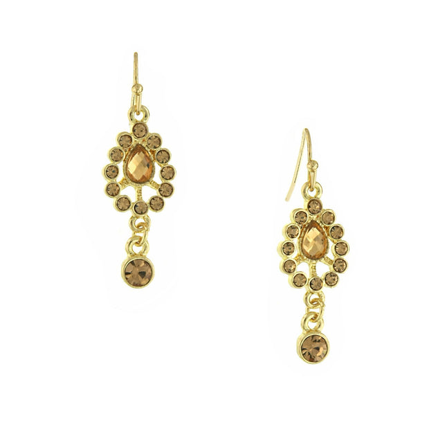 Gold-Tone Lt. Brown Drop Earrings