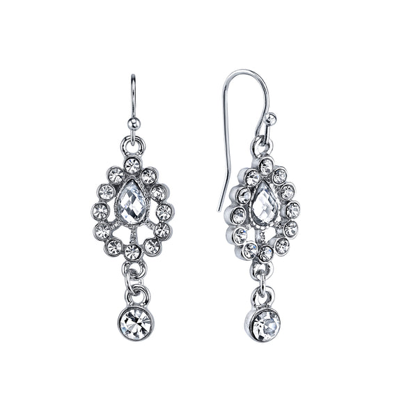 Silver-Tone Crystal Drop Earrings