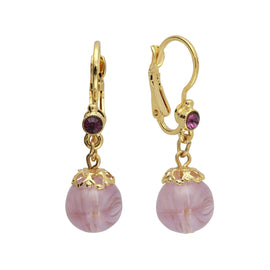 Gold Tone Round Amethyst Color Drop Earrings