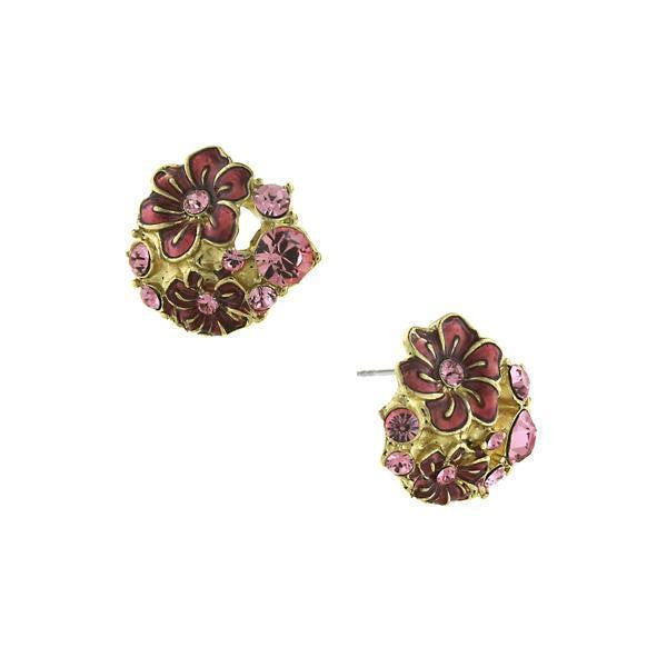 Gold Tone Amethyst Enamel And Crystal Flower Button Earrings