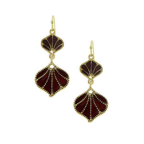 Gold Tone Red Enamel Drop Earrings