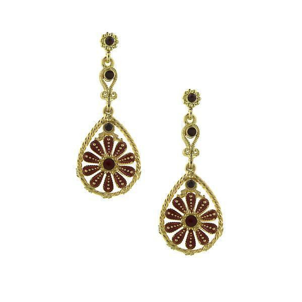 Gold-Tone Amethyst Flower Teardrop Drop Earrings