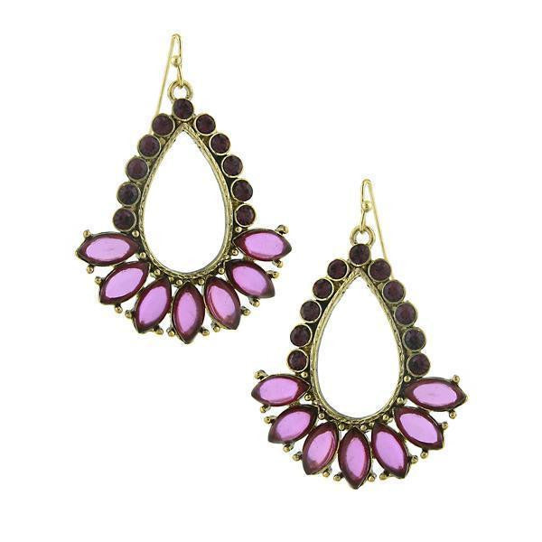 Gold Tone Amethyst Teardrop Open Hoop Earrings