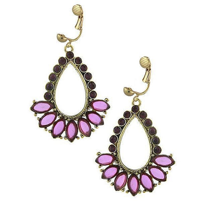 Gold Tone Amethyst Teardrop Open Hoop Clip On Earrings