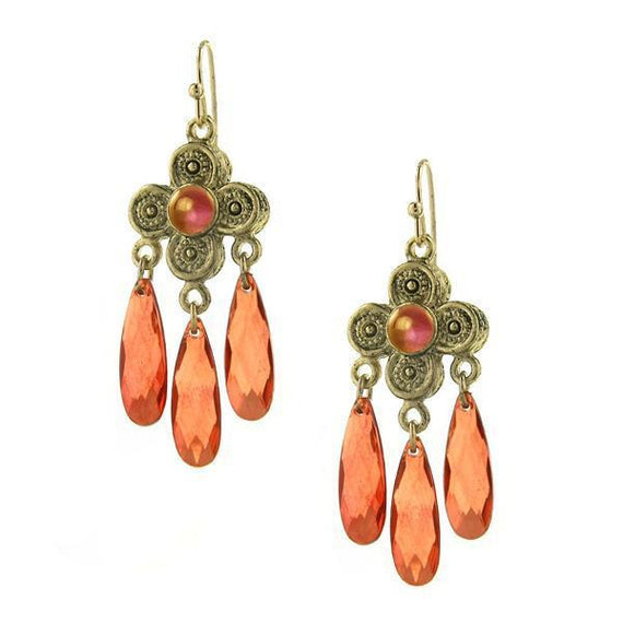 Fashion Jewelry - 2028 Orange Blossom Chandelier Earrings