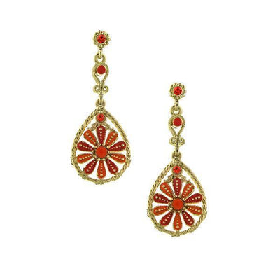Gold Tone Orange And Pink Coral Enamel Flower Teardrop Earrings