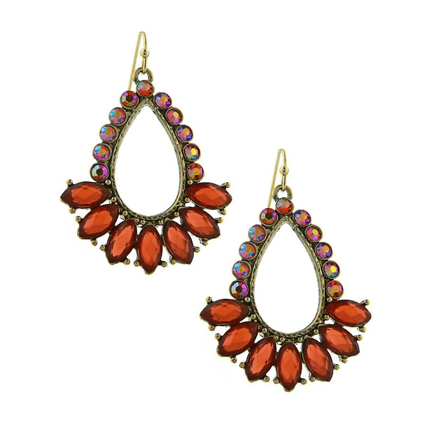Gold-Tone Orange And Hyacinth Teardrop Open Hoop Earrings
