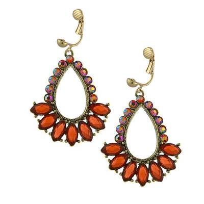 Gold Tone Orange And Hyacinth Teardrop Open Hoop Clip On Earrings