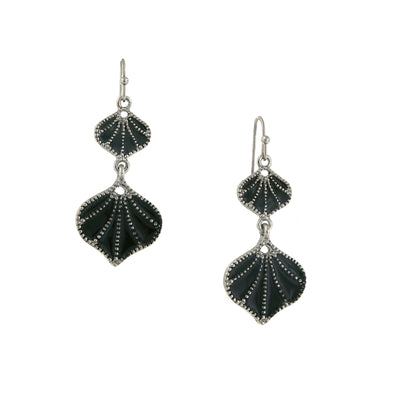 Silver-Tone Jet Enamel Drop Earrings
