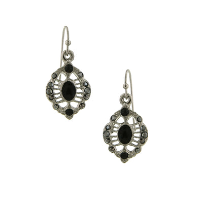 Silver-Tone Hematite Oval Drop Earrings