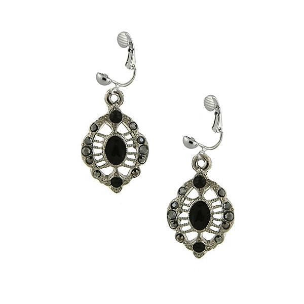 Silver Tone Hematite Clip On Earrings