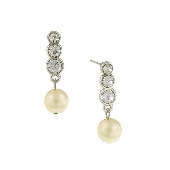 Silver-Tone Crystal and Simulated Pearl Drop Earrings