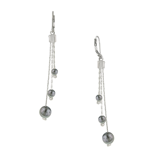 Silver Tone Grey Costume Pearl Linear Drop Earrings