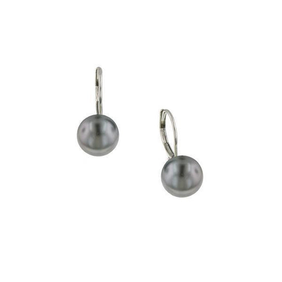 Silver-Tone Grey Costume Pearl Leverback Earrings