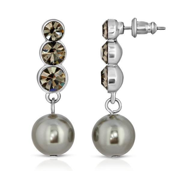 Signature Silver Tone Crystal and Grey Simulated Pearl Drop Earrings