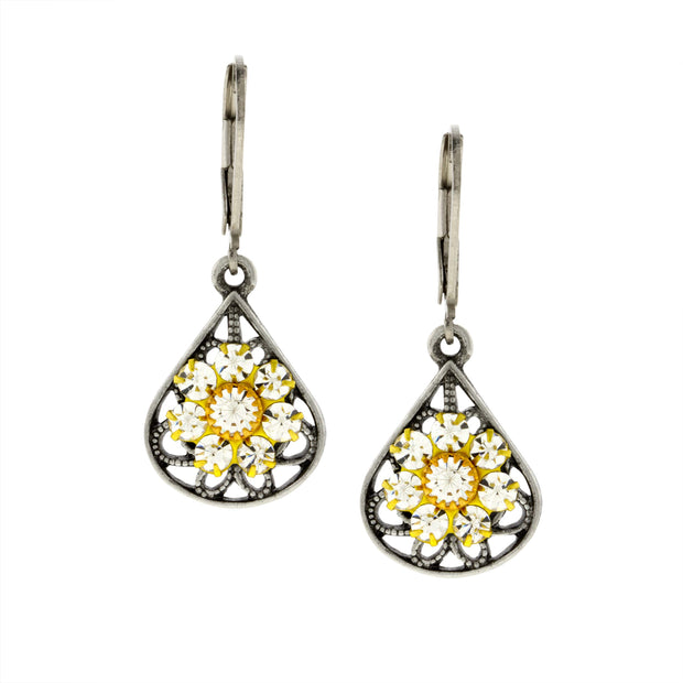 Pewter Crystal Flower Teardrop Leverback Earring