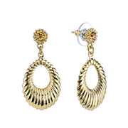 Gold Tone Corrugated Hoop Drop Earrings