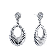 Silver-Tone Corrugated Hoop Drop Earrings