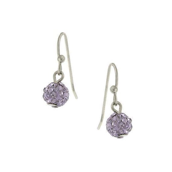 Silver-Tone Violet Pave 6mm Drop Earrings