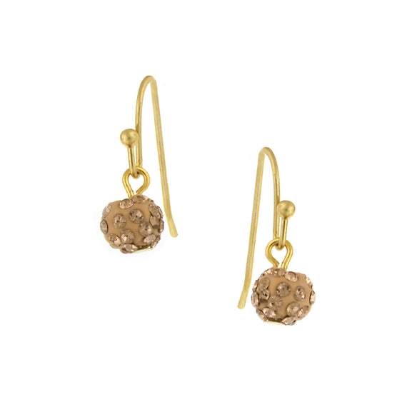 Fashion Jewelry - Gold Tone Peach Crystal Fireball Pave Drop Earrings