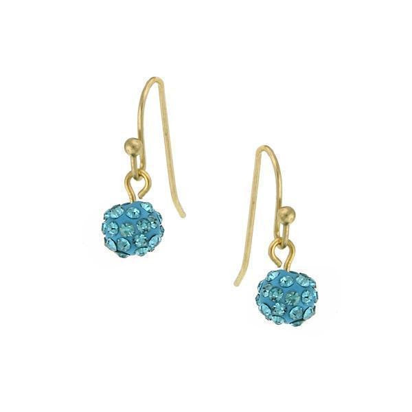 Gold Tone Aqua Pave 6Mm Drop Earrings